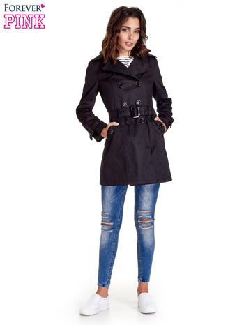 Czarny klasyczny płaszcz typu trencz                                  zdj.                                  8