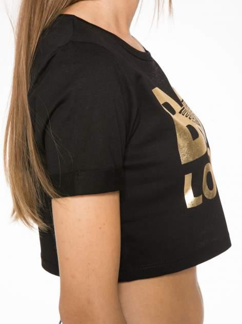 Czarny krótki t-shirt przed pępek z napisem BOY LONDON                                  zdj.                                  9