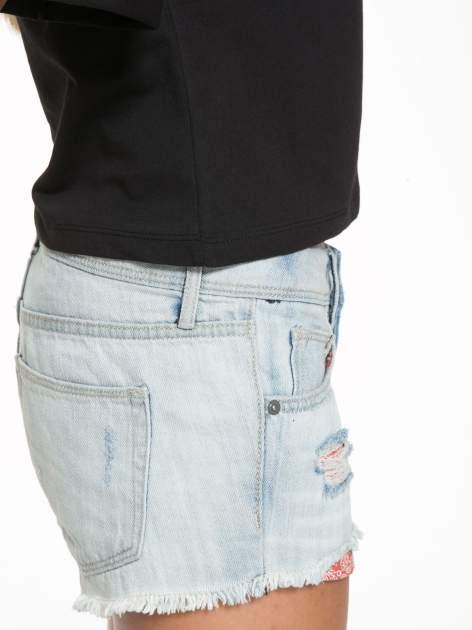 Czarny krótki t-shirt z napisem ADIEU                                  zdj.                                  8