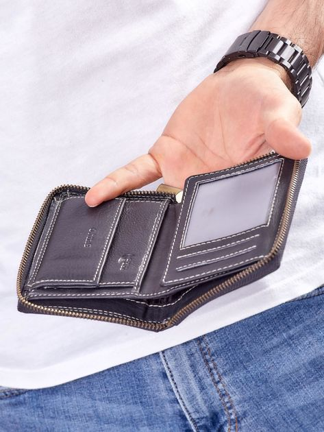 Czarny męski portfel skórzany na suwak                              zdj.                              3