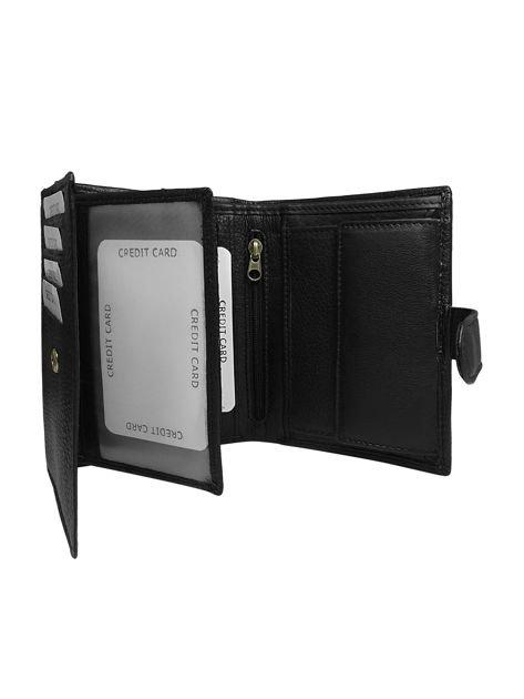 Czarny męski portfel skórzany z klapką                              zdj.                              2