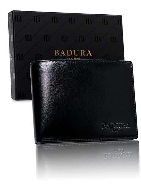 Czarny męski portfel z naturalnej skóry BADURA
