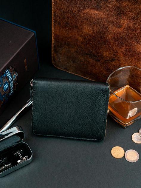 Czarny męski portfel ze skóry na suwak                              zdj.                              5