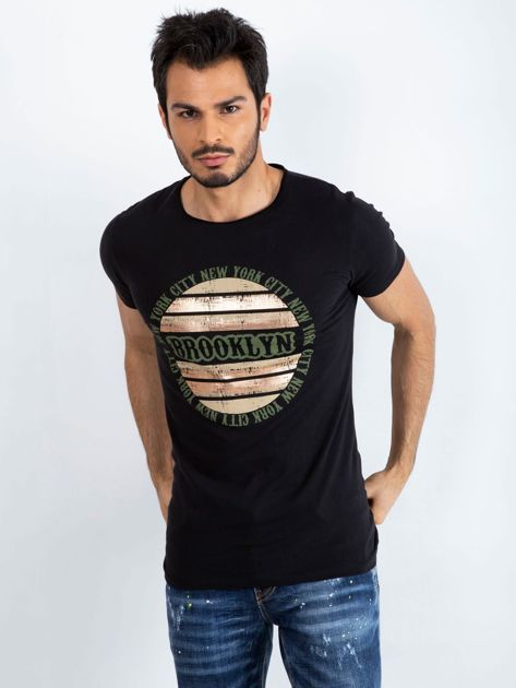 Czarny męski t-shirt Brooklyn