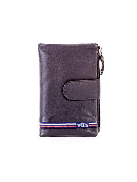 Czarny miękki portfel ze skóry naturalnej z kieszenią na suwak