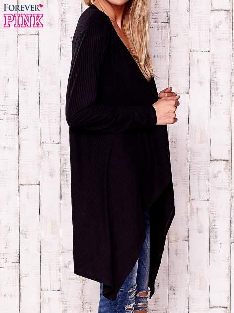Czarny otwarty sweter w drobne prążki                                  zdj.                                  3