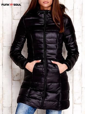 Czarny pikowany płaszcz z kapturem FUNK N SOUL