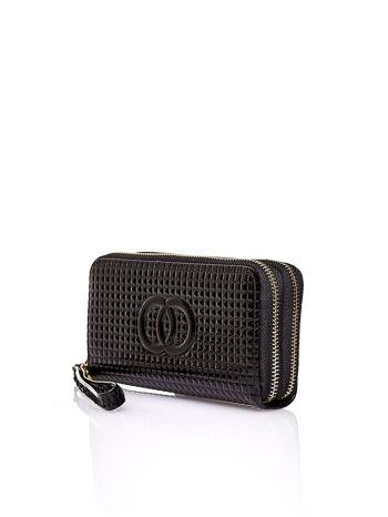Czarny pikowany portfel z uchwytem na rękę                                  zdj.                                  3