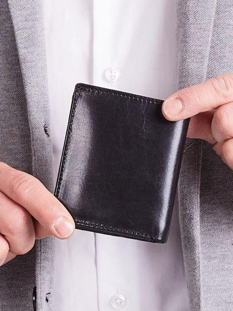 Czarny pionowy elegancki skórzany portfel                               zdj.                              5