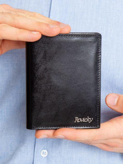 Czarny pionowy portfel męski ze skóry naturalnej