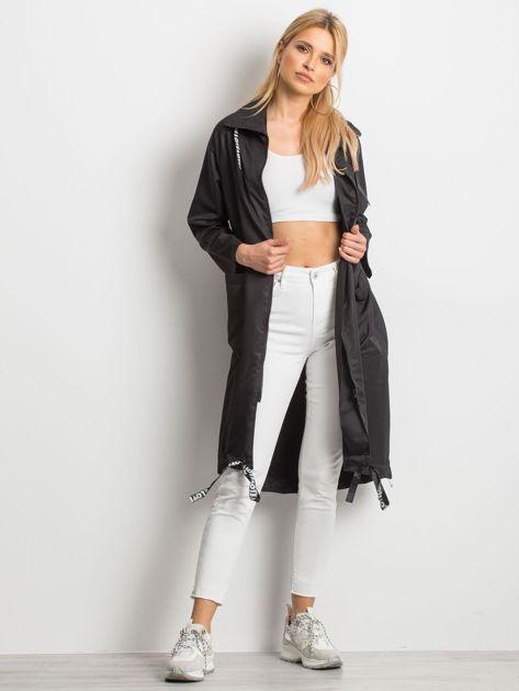 Czarny płaszcz Flatscreen                              zdj.                              5