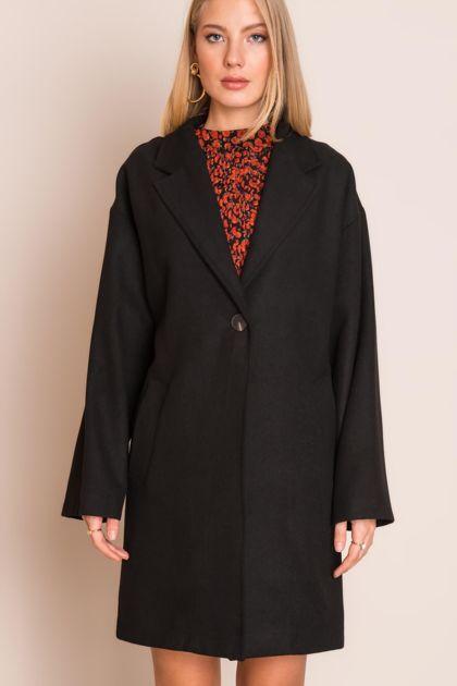 Czarny płaszcz damski BSL