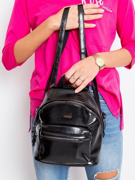 Czarny plecak z ekoskóry                              zdj.                              1