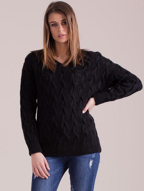 Czarny pleciony sweter                               zdj.                              1