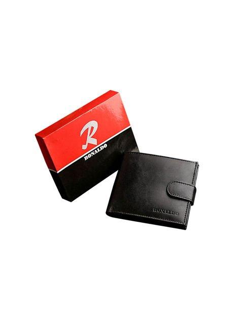 Czarny portfel dla mężczyzny ze skóry naturalnej poziomy                              zdj.                              4