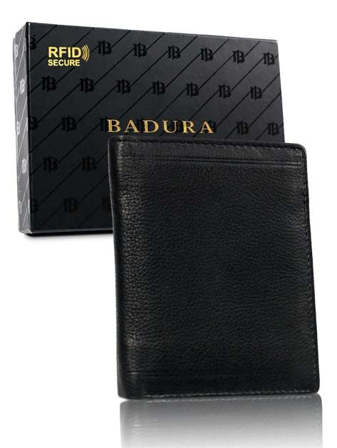 Czarny portfel męski basic ze skóry BADURA