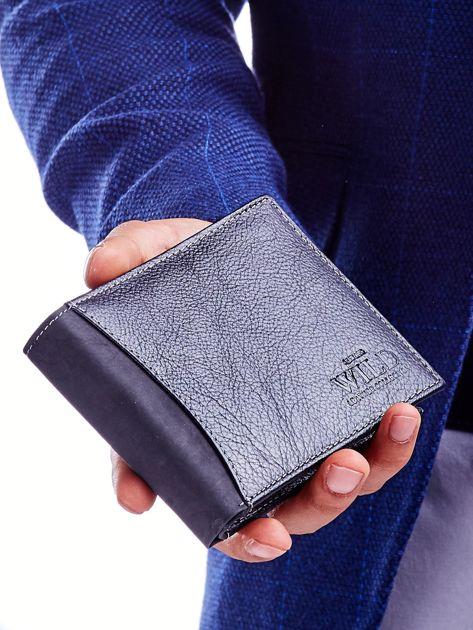 Czarny portfel męski skórzany z łączonych materiałów                              zdj.                              2