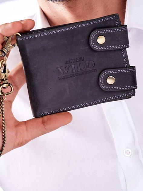 Czarny portfel męski skórzany z łańcuszkiem