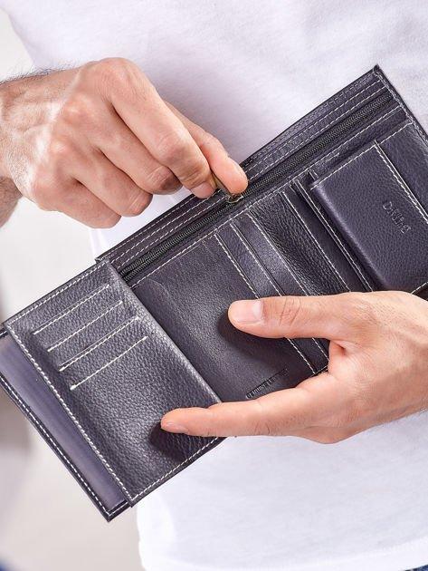 Czarny portfel męski ze skóry naturalnej                              zdj.                              2