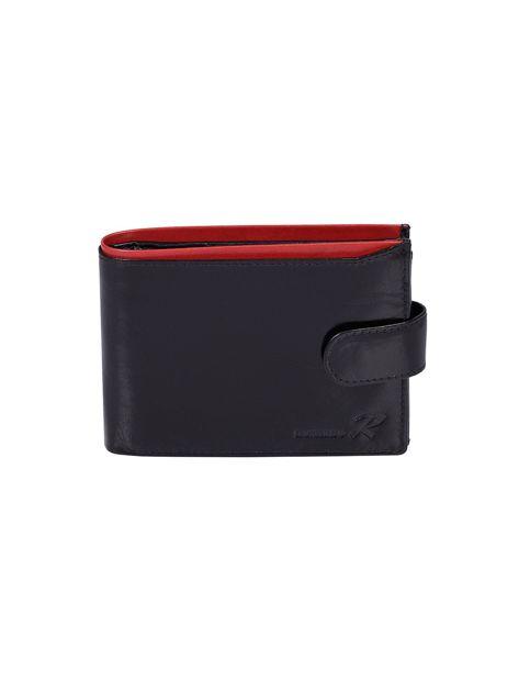 Czarny portfel skórzany męski z czerwonym wykończeniem                              zdj.                              2