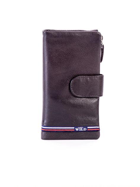 Czarny portfel skórzany z kieszenią na suwak                              zdj.                              1