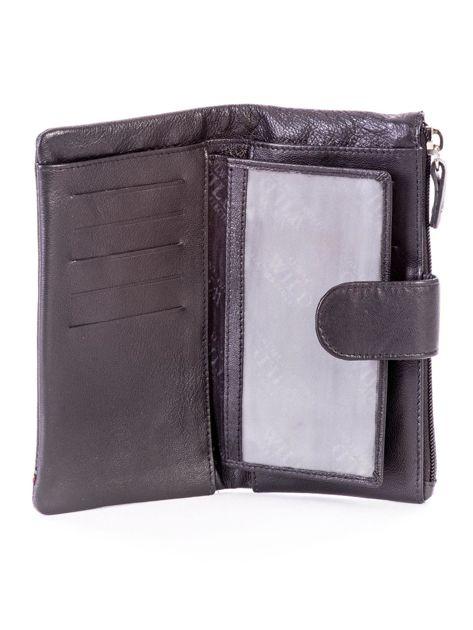 Czarny portfel skórzany z kieszenią na suwak                              zdj.                              4