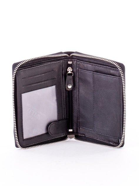 Czarny portfel skórzany z zapięciem na suwak                              zdj.                              4
