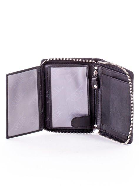 Czarny portfel skórzany z zapięciem na suwak                              zdj.                              5