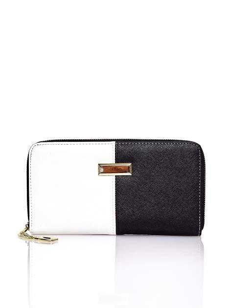 Czarny portfel two tone z uchwytem