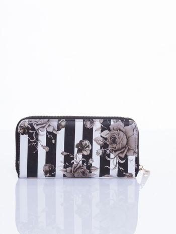 Czarny portfel w kwiaty efekt saffiano                                  zdj.                                  3