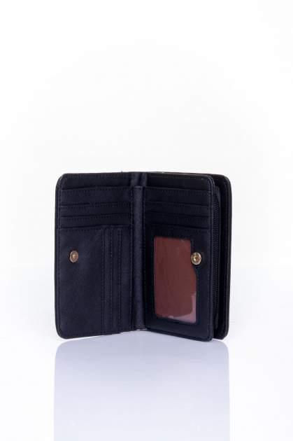 Czarny portfel z motywem geometrycznej plecionki                                  zdj.                                  3