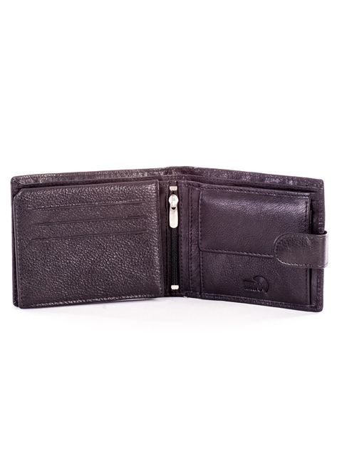 Czarny portfel ze skóry naturalnej na zatrzask                              zdj.                              4