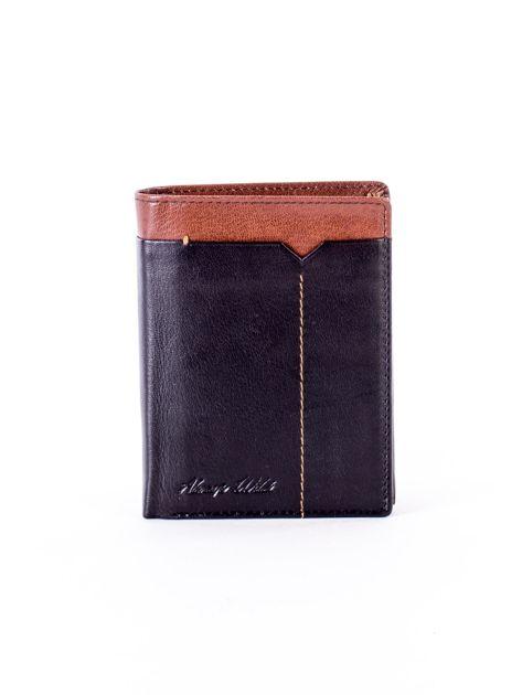 Czarny portfel ze skóry naturalnej z brązowym wykończeniem