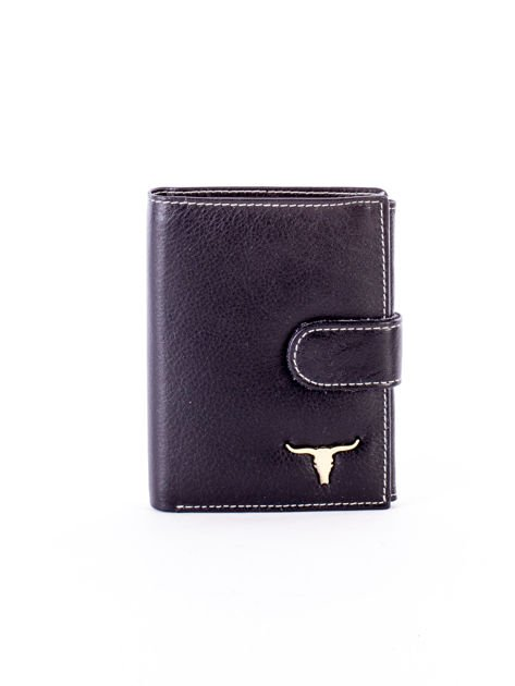 Czarny portfel ze skóry naturalnej z emblematem                              zdj.                              1