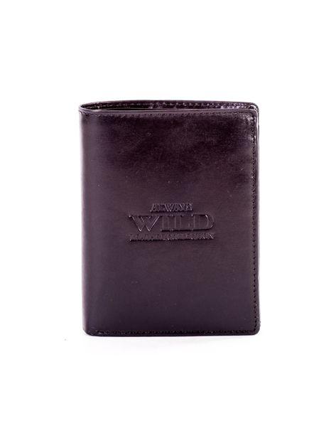 Czarny portfel ze skóry naturalnej z napisem