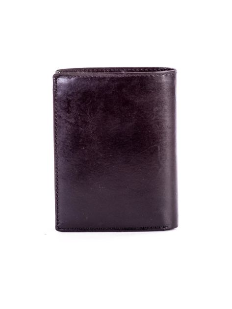 Czarny portfel ze skóry naturalnej z napisem                              zdj.                              2