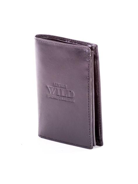 Czarny portfel ze skóry naturalnej z napisem                              zdj.                              3