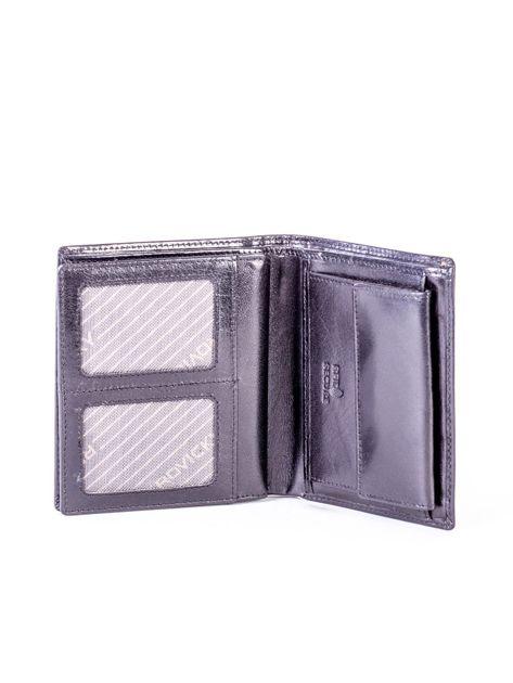 Czarny portfel ze skóry naturalnej z tłoczeniem                              zdj.                              5