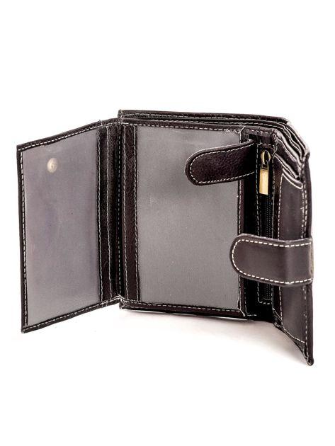 Czarny portfel ze skóry naturalnej zapinany na zatrzask                              zdj.                              6