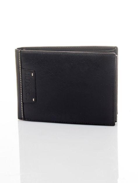 Czarny poziomy portfel męski skórzany                              zdj.                              2
