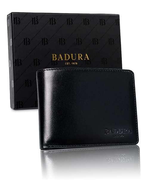 Czarny poziomy skórzany portfel męski BADURA