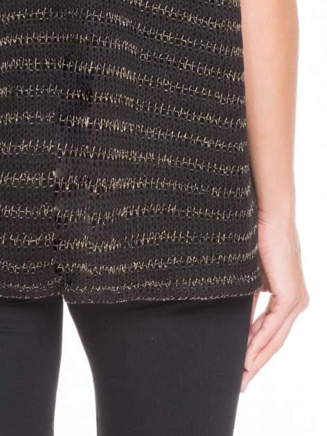 Czarny siatkowy sweterek z metaliczną nicią                                  zdj.                                  8