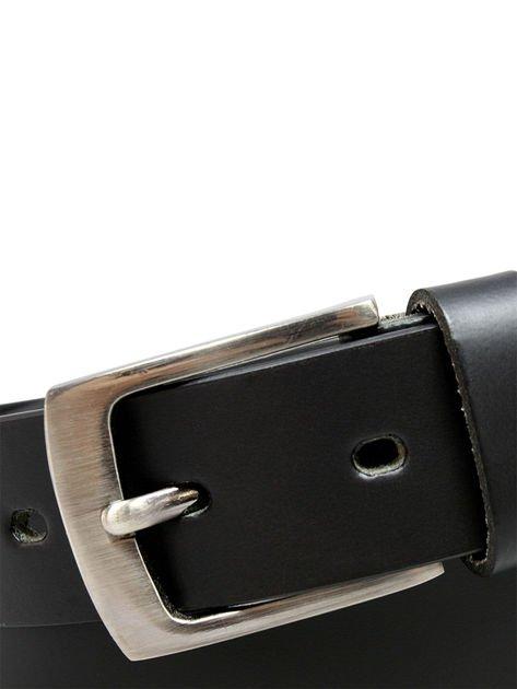 Czarny skórzany pasek męski z metalową klamrą                              zdj.                              4