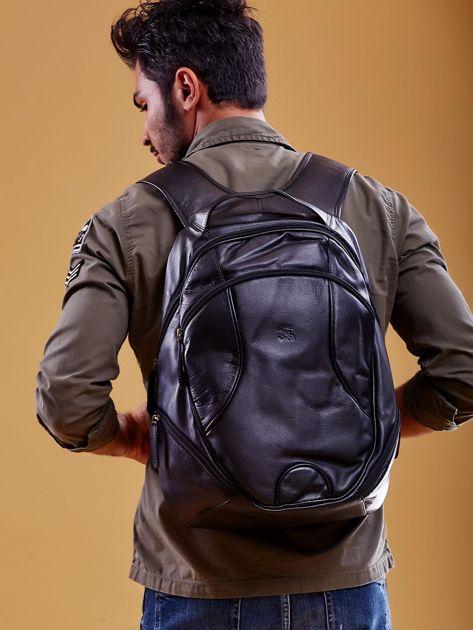 Czarny skórzany plecak męski w stylu motocyklowym                              zdj.                              3