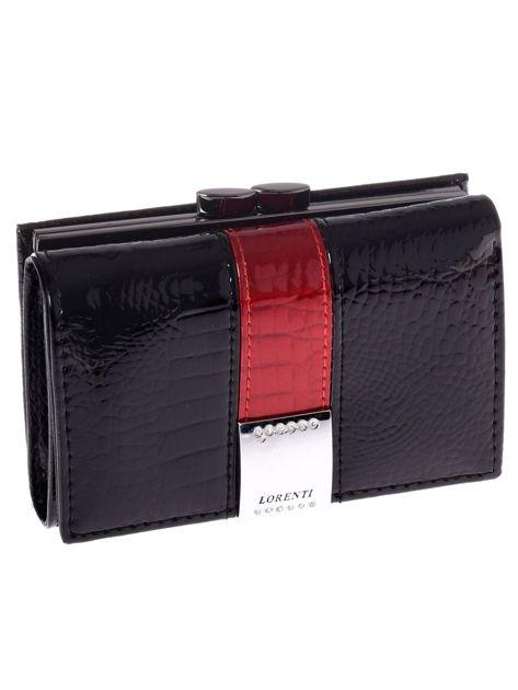 Czarny skórzany portfel damski ze wzorem skóry krokodyla
