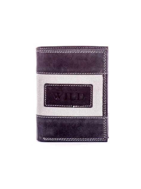 Czarny skórzany portfel dla mężczyzny z materiałową wstawką                              zdj.                              1
