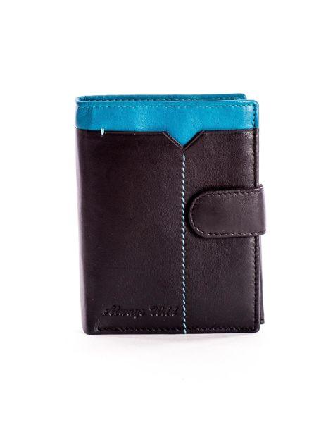 Czarny skórzany portfel dla mężczyzny z niebieską wstawką                              zdj.                              1
