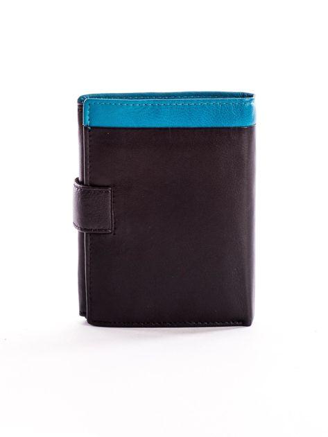 Czarny skórzany portfel dla mężczyzny z niebieską wstawką                              zdj.                              2