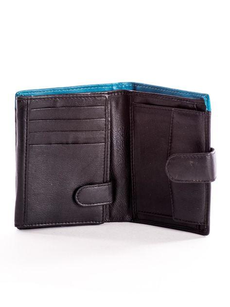 Czarny skórzany portfel dla mężczyzny z niebieską wstawką                              zdj.                              4