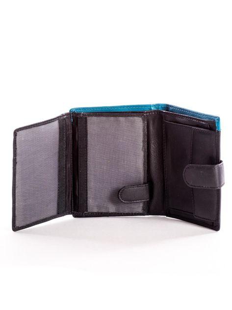Czarny skórzany portfel dla mężczyzny z niebieską wstawką                              zdj.                              5